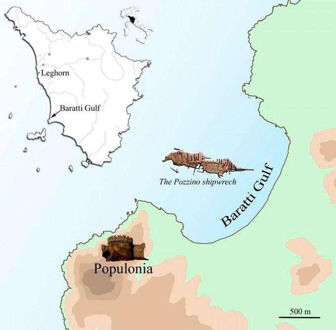 L'épave du Relitto del Pozzino (The Pozzino shipwreck) gît à 18 m de fond dans le golfe de Barrati, non loin des restes de l'ancien port marchand étrusque de Populonia. © G. Giacchi et al., Pnas Early Edition