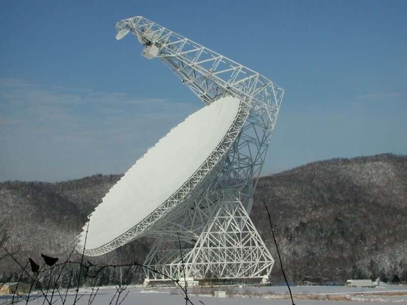 Une vue du radiotélescope de Green Bank. Crédit : NRAO