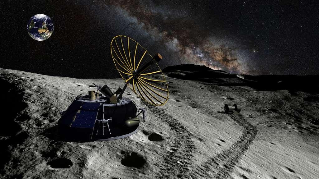 Moon Express, associée à l'association International Lunar Observatory, a toujours en projet d'envoyer le petit télescope ILO sur le pôle sud de la Lune. © Moon Express