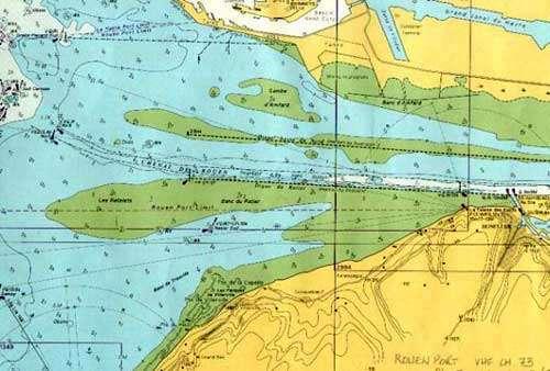 Carte marine de l'estuaire de la Seine. © DR, reproduction et utilisation interdites