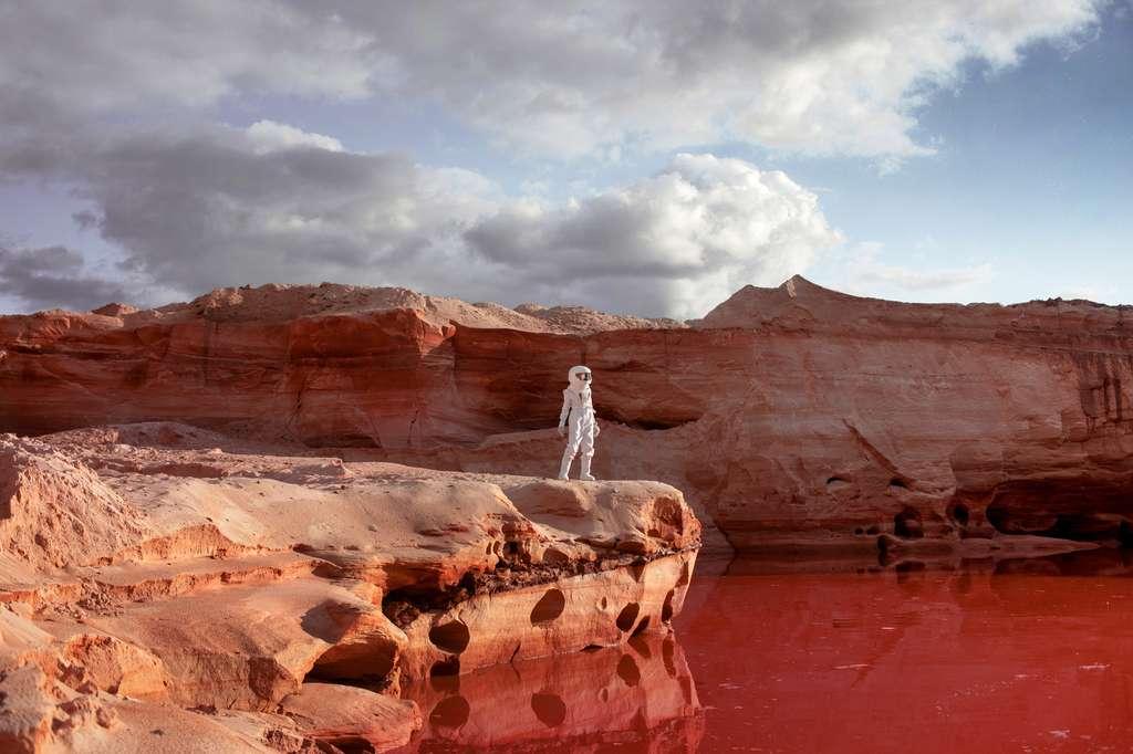 La terraformation de Mars n'est pas pour tout de suite. Avec nos technologies actuelles, il n'est pas possible d'injecter suffisamment de carbone pour épaissir l'atmosphère de Mars et la réchauffer. Les colons martiens du XXIe siècle devront garder leurs combinaisons pour randonner sur notre voisine. © Ulia Koltyrina, Fotolia