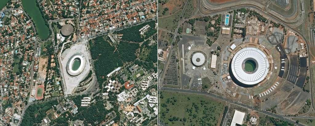 Le stade Mineirão de Belo Horizonte et celui de de Brasilia (Estádio Nacional). @ Cnes 2014/Distribution Astrium Services/Spot Image S.A.