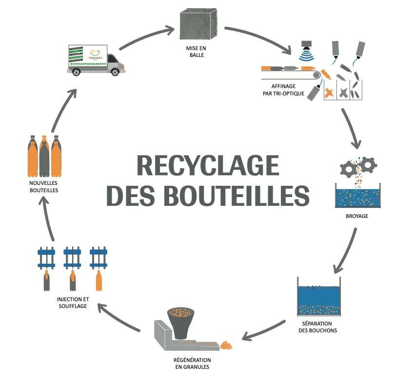 Cycle de recyclage d'une bouteille en plastique. © Lemon tri