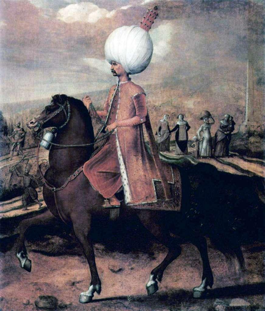 Portrait équestre de Soliman le Magnifique par Hans Eworth vers 1549. Collection privée. © Wikimedia Commons, domaine public.