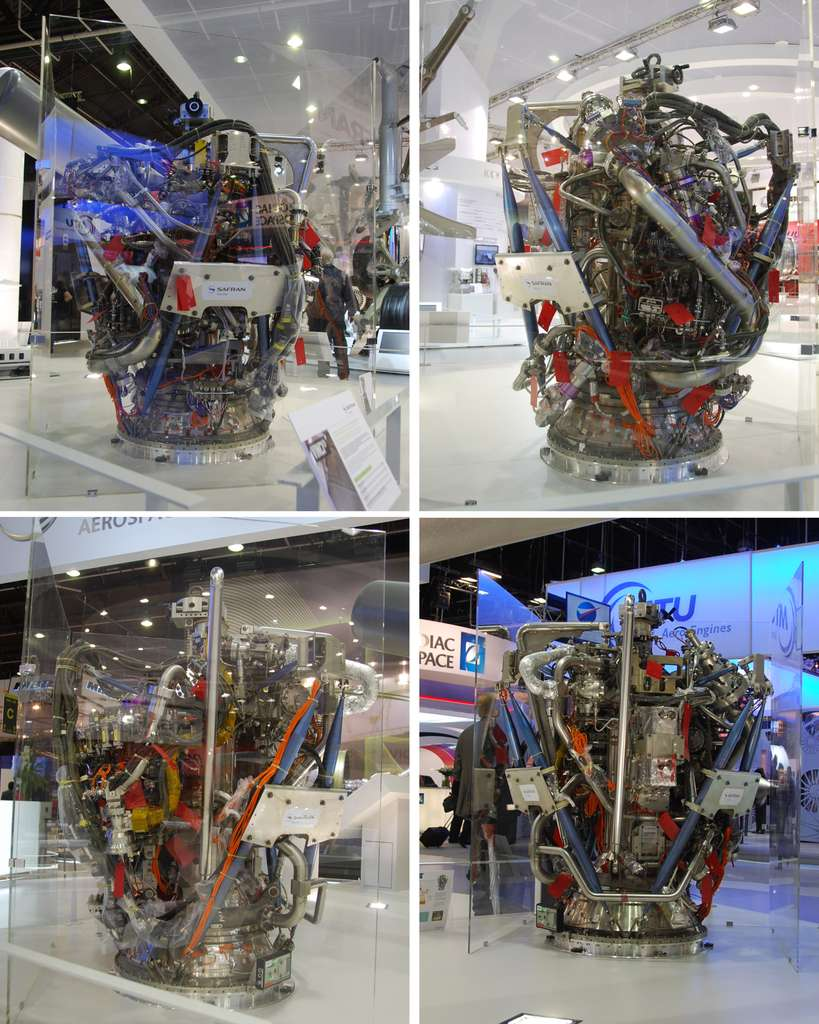 Le moteur Vinci présenté lors du dernier Salon du Bourget. À l'avenir, ce moteur pourrait être utilisé par Ariane 5 ME dont l'entrée en service est prévue en 2017, (si l'Esa donne son feu vert fin 2012) ou par le lanceur de nouvelle génération qui doit remplacer l'actuelle famille Ariane 5 à l'horizon 2025. © Remy Decourt
