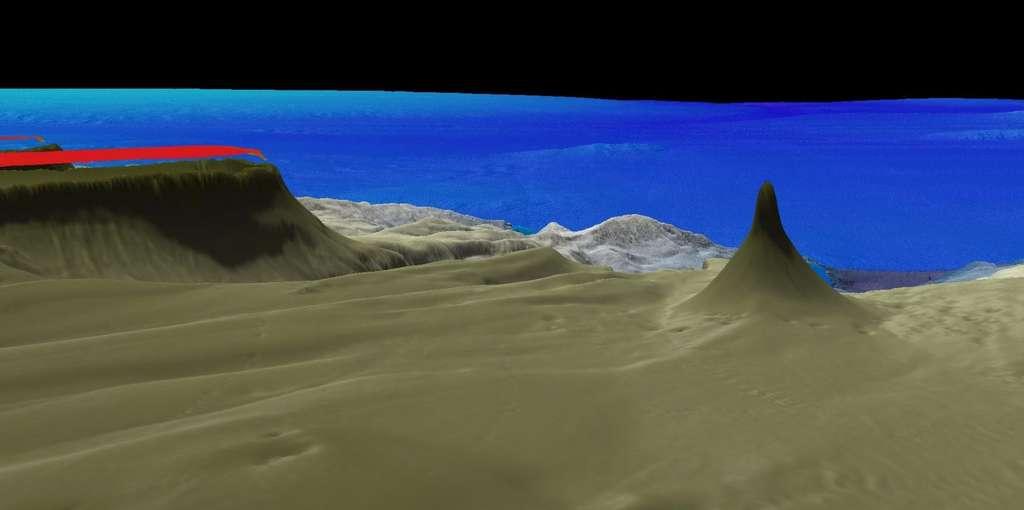 À droite, la modélisation 3D du nouveau récif corallien découvert en Australie qui culmine à 500 mètres au-dessus du fond de l'océan. © Schmidt Ocean Institut