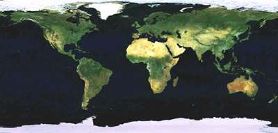 Mosaïque MERIS Mai - Novembre 2004 du satellite Envisat (crédit : ESA)