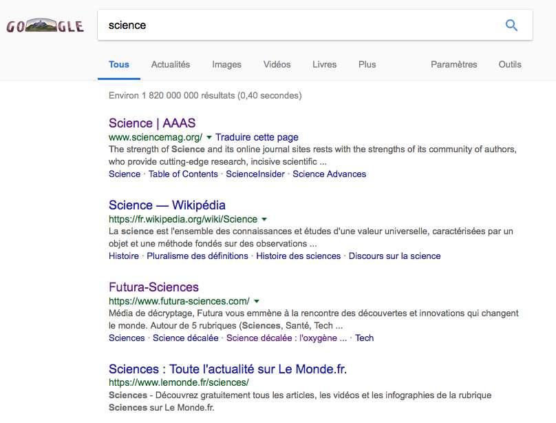 Les pages qui apparaissent au-delà de la 4e position en première page de Google, le moteur de recherche le plus utilisé au monde, manquent de visibilité. Au-delà de la 6e position, les sites récoltent à peine plus de 5 % des clics. © Nathalie Mayer, Futura