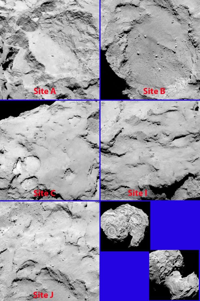 Les cinq sites d'atterrissage de la comète 67P/Churyumov-Gerasimenko retenus pour le lander Philae. © Esa, Rosetta, MPS for OSIRIS Team, UPD, LAM, IAA, SSO, INTA, UPM, DASP, IDA