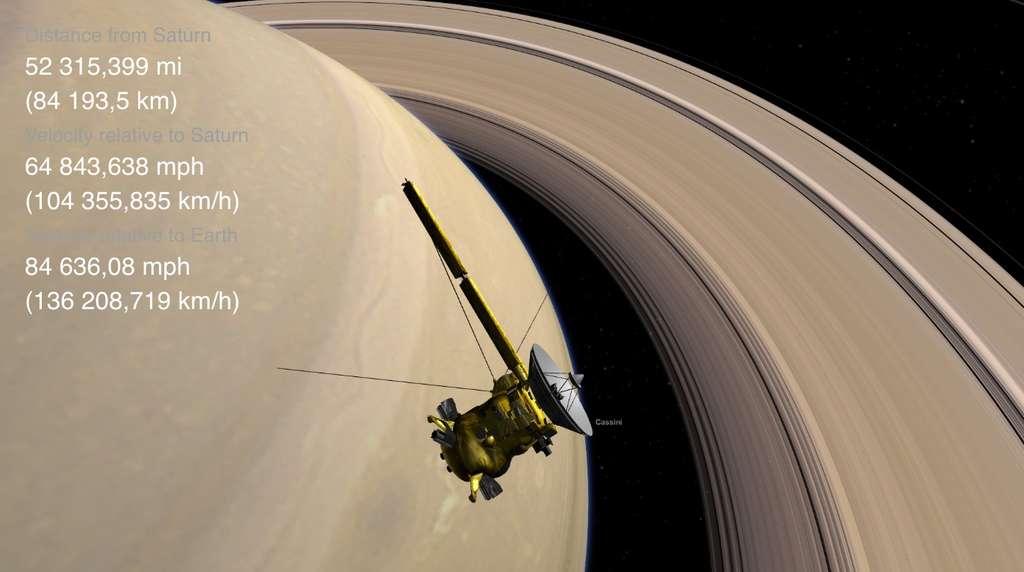 Cassini se rapproche de plus en plus de Saturne. © Nasa, JPL