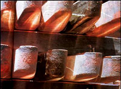 Saumons de cuivre, produits semi-finis