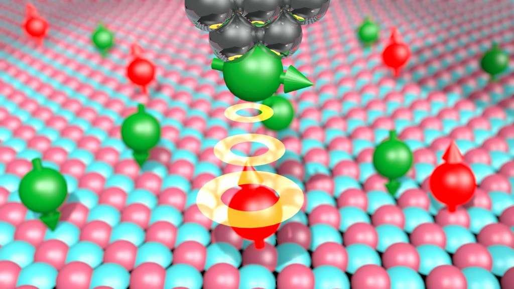 Schéma de la technique développée pour réaliser une IRM sur des atomes individuels. La pointe de la taille de quelques atomes d'un microscope à effet tunnel a été magnétisée en lui ajoutant du fer. Elle peut ainsi interagir avec le champ magnétique des électrons des atomes déposés sur une surface d'oxyde de magnésium. © Philip Willke et al.