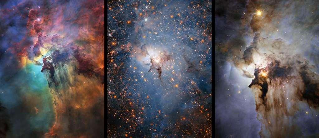 Hubble a observé la nébuleuse du Lagon a plusieurs et dans différentes longueurs d'onde, notamment dans le visible (image de gauche) et l'infrarouge (image du centre). Si les observations dans l'optique permettent aux astronomes d'étudier les gaz en détail, l'infrarouge permet de voir ce qui se cache derrière les nuages de poussières et de gaz, souvent sombres. En combinant ces données, les astronomes peuvent avoir une idée plus précise des processus en cours dans la nébuleuse (image de droite). © Nasa, ESA, STSci
