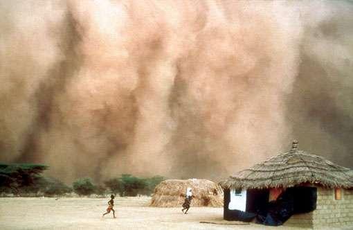 Front de poussières atmosphériques à Matam au Sénégal, précédent une ligne de grains. © IRD/B. Mougenot