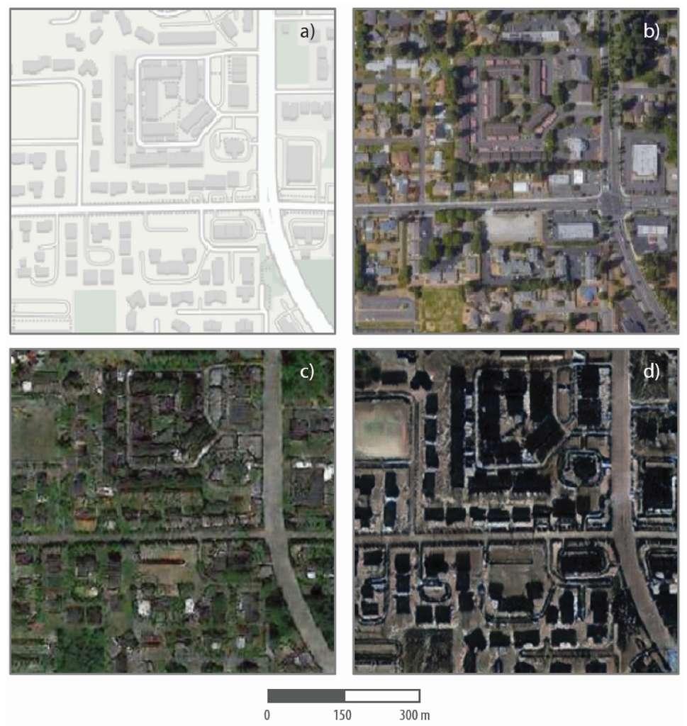 En haut, une vue aérienne de Tacoma avec son croquis. En bas, la même vue transformée avec un aspect Seattle à gauche, et Pekin à droite © Bob Zhao, TechCrunch