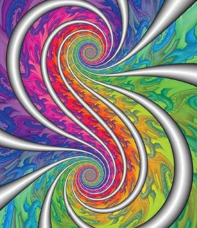 L'artiste Paul Nylander a créé cette séduisante spirale en appliquant une projection stéréographique à une courbe loxodromique. (Une projection stéréographique représente une sphère sur un plan.) © Dunod, droits réservés