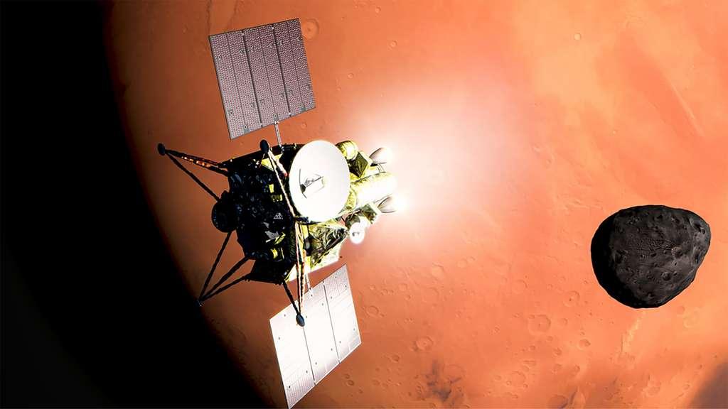 Vue d'artiste de la sonde MMX au-dessus de Photos, une des deux lunes de Mars. © Jaxa