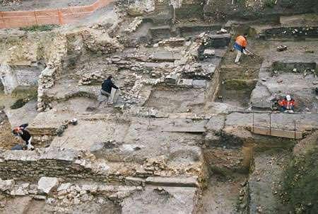 Vue d'ensemble des vestiges antiques et médiévaux © Cl. G. Pollin, Inrap