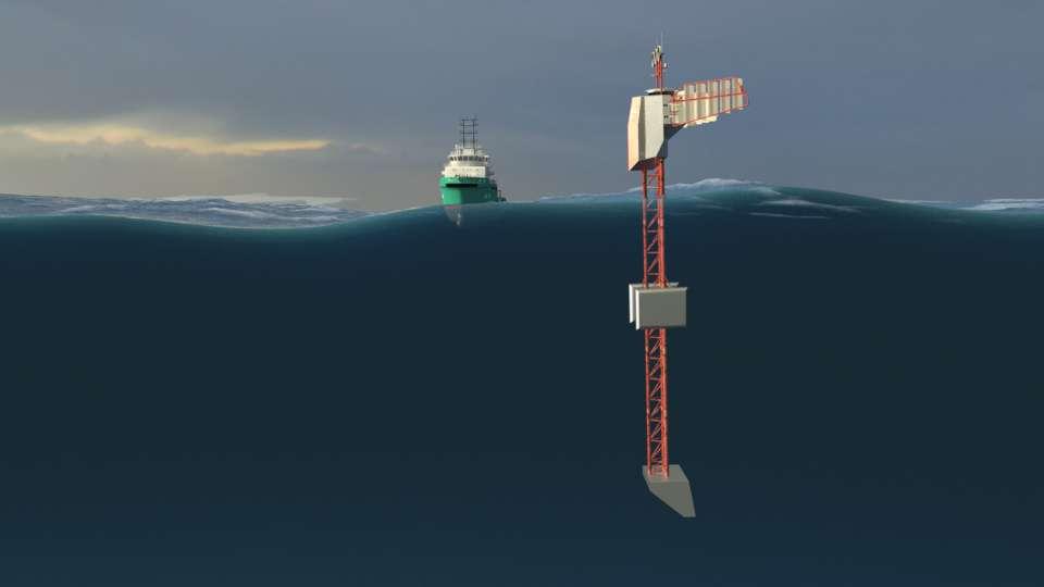 Le Polar Pod, debout dans les vagues. Mesurant 100 m et pesant 720 tonnes, il est conçu pour les vagues des « cinquantièmes hurlants », autour de 50° de latitude sud. © Jean-Louis Étienne