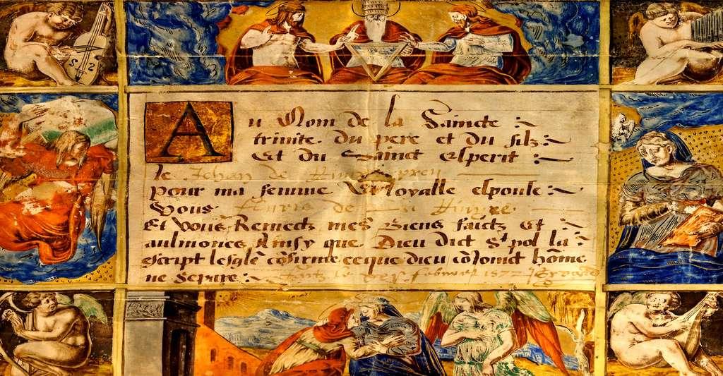 Charte de mariage de Jehan de Rivery et Fluvie de la Rivyre - 1572. © Olivier, DP