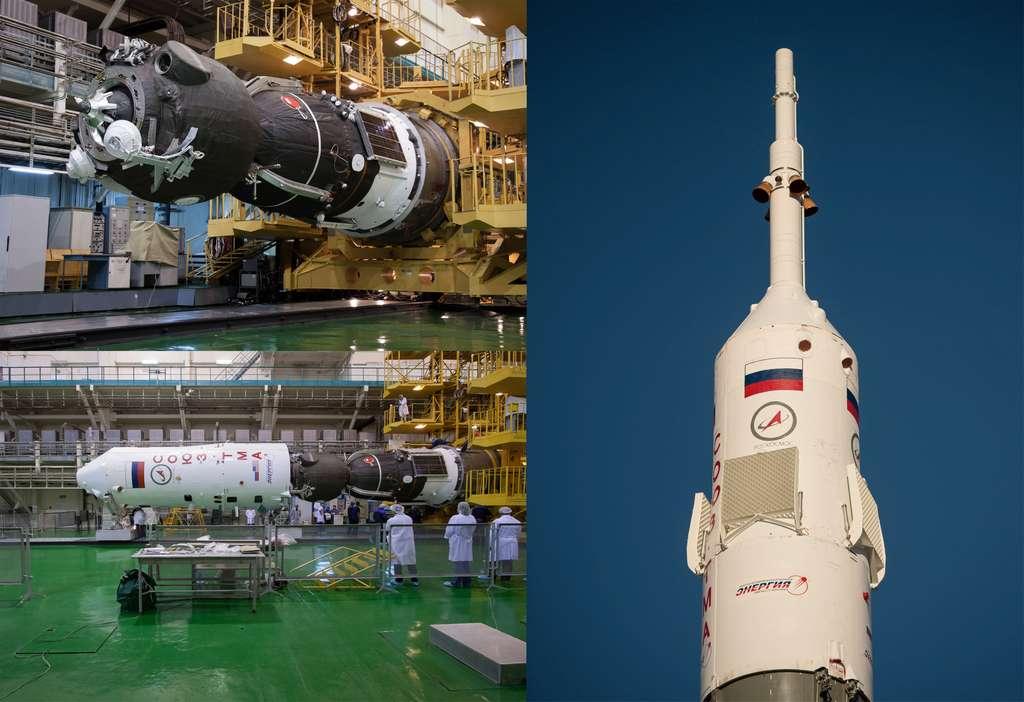La capsule Soyouz TMA-06M installée dans la coiffe du lanceur. En position verticale, on remarque la tour d'éjection (au sommet de la fusée) dont la fonction est d'extraire la capsule et ses occupants du lanceur en cas d'une urgence pendant les opérations de mise à feu et durant le début de l'ascension. © Nasa/ Victor Zelentsov