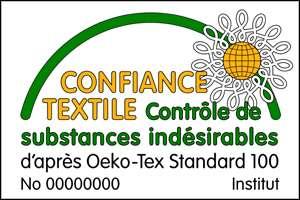 L'écolabel Okeo-Tex Standard 100 certifie que le tissu ne contient pas, ou très peu, de substances nocives ou allergènes.