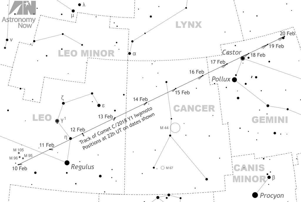 Le 13 février, la comète sera visible devant la tête du Lion. Elle atteindra les Gémeaux, ce week-end. © Astronomy Now