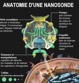 Anatomie d'une nanosonde médicale. La largeur de l'image correspond au diamètre d'un cheveu ! Jusqu'à 10 trillions de nanosondes d'une taille 200 fois inférieure à celle d'un cheveux pourraient être injectées en une fois. Document Nanotech Now.