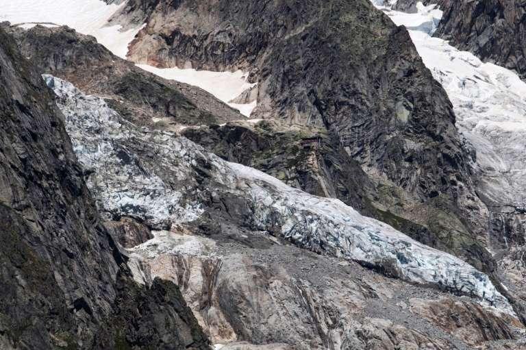 Le glacier de Planpincieux à Courmayeur, le 6 août 2020 au Val Ferret, en Italie. Une partie, qui représente l'équivalent de la cathédrale de Milan, menace de s'effondrer. © Marco Bertorello, AFP