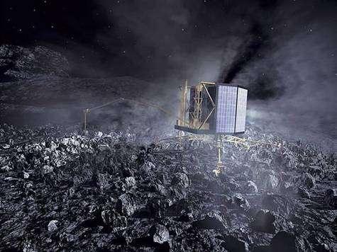 Philae ancré sur le noyau cométaire (vue d'artiste). Crédit ESA.