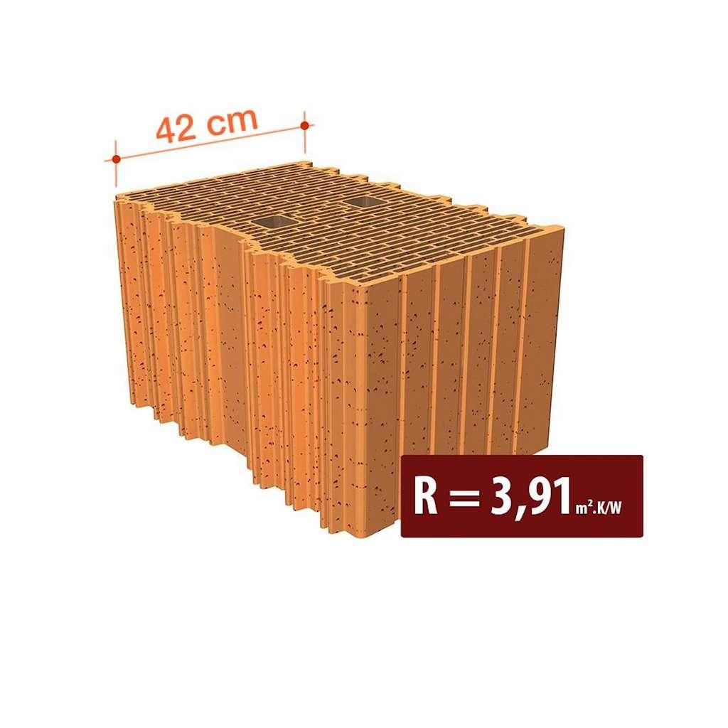 La brique « Porotherm » se distingue par la finesse et la disposition de ses alvéoles. Une fois maçonnée, grâce à l'air enfermé, elle offre en 42 centimètres d'épaisseur une résistance R supérieure à la valeur minimale réglementaire. © Wienerberger