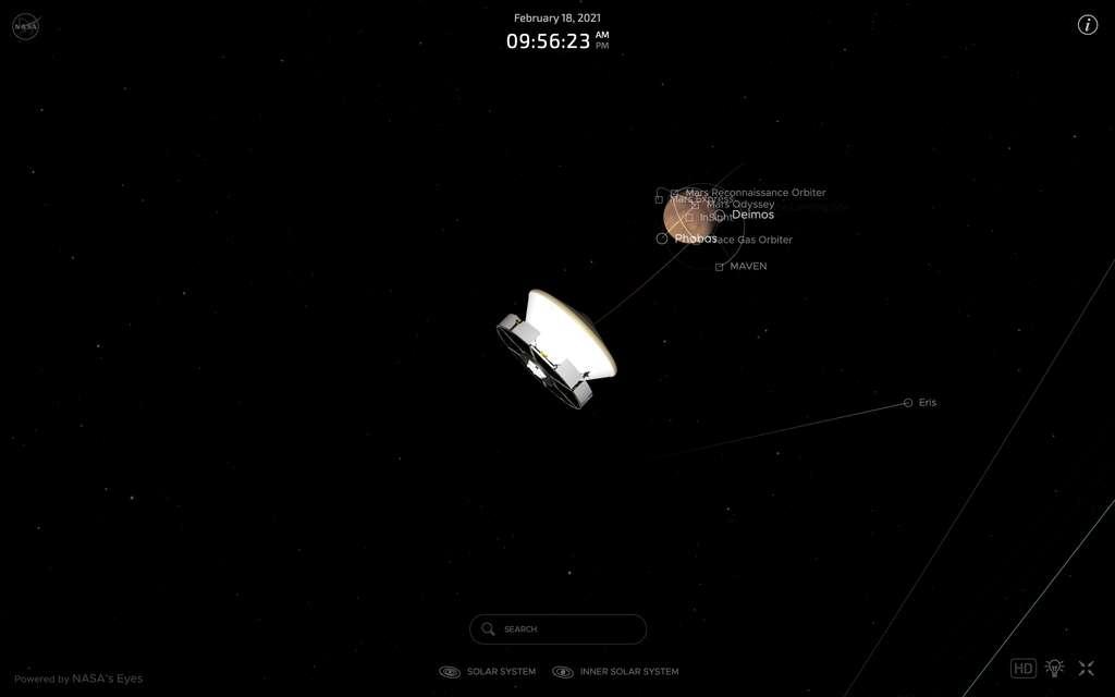 Position de Perseverance à 12 heures de son atterrissage sur Mars. Visualisez en temps réel avec Nasa's Eyes. © Nasa,'s Eyes
