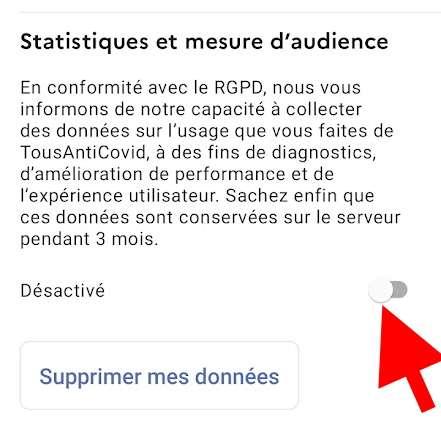 Il faut se rendre dans les paramètres de TousAntiCovid pour désactiver la collecte de données de statistiques. © Futura