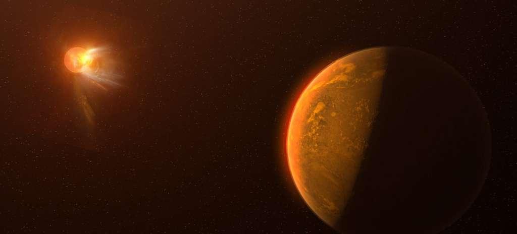 Une vue d'artiste d'une exoplanète autour de Proxima Centauri alors que la naine rouge de type M fait une spectaculaire éruption stellaire. © NRAO, S. Dagnello