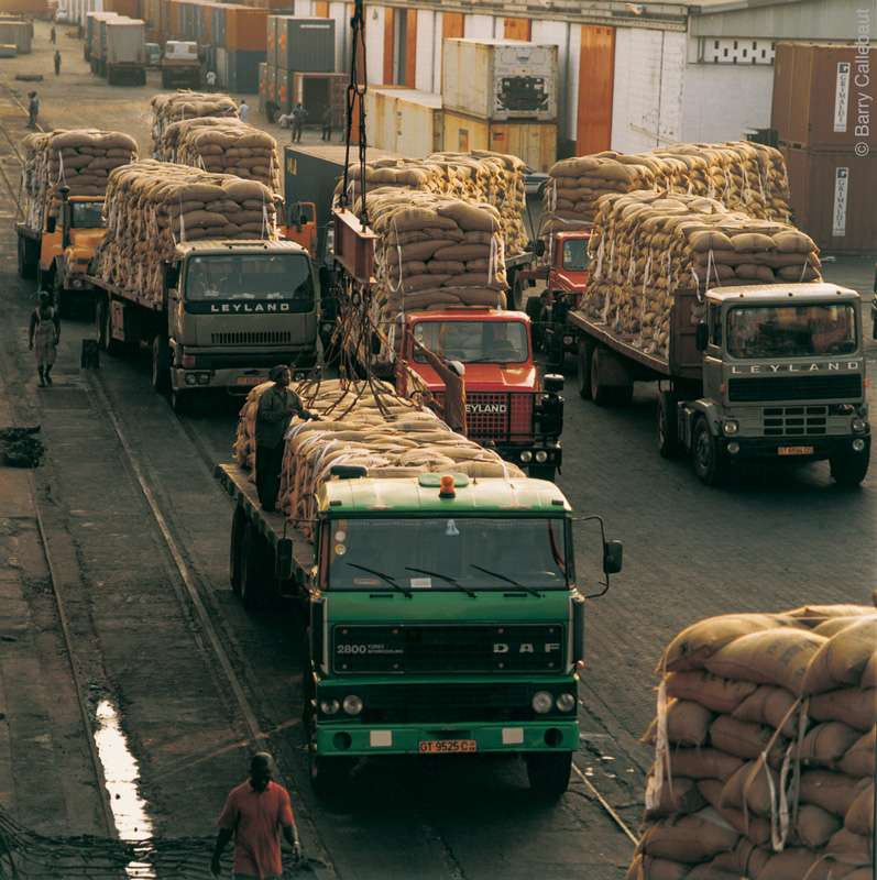 Files de camions transportant des sacs de cacao au port d'Abidjan. © Barry-Callebaut
