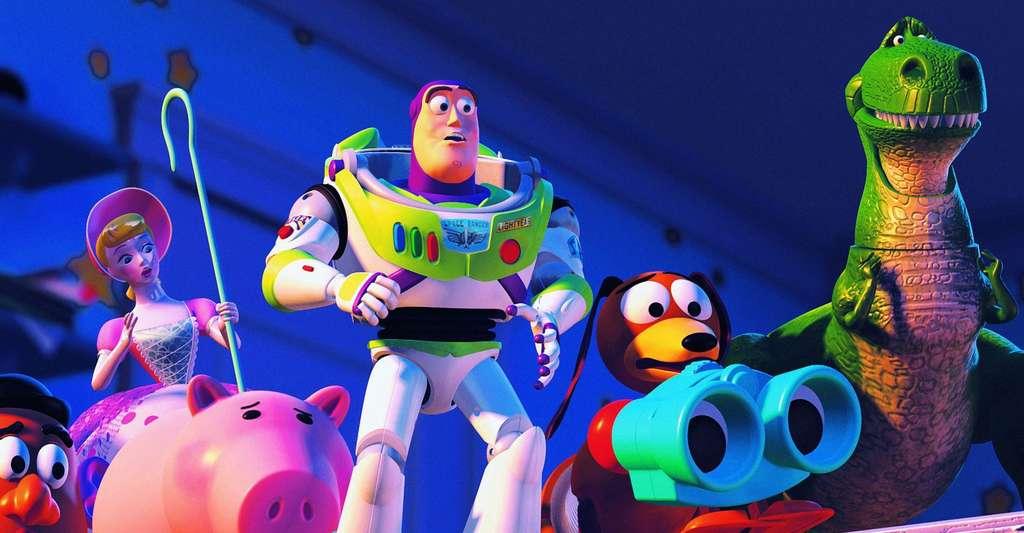La sortie de Toy Story (1995 aux États-Unis et 1996 en France) représente un évènement marquant dans l'histoire du cinéma d'animation, car il s'agit du premier film entièrement réalisé par ordinateur, c'est-à-dire en images de synthèse. © Pixar Animation Studios