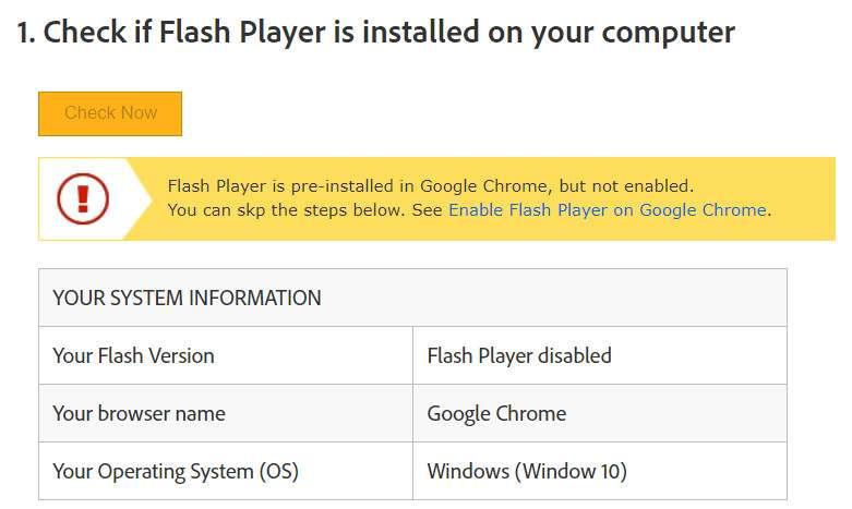 Sur le site d'Adobe, un utilitaire permet de savoir si Flash est installé sur son ordinateur et si oui, s'il est activé ou pas. © Adobe