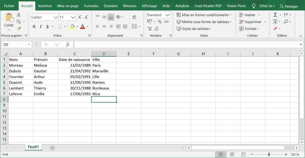 Remplissage des données du tableau © Microsoft