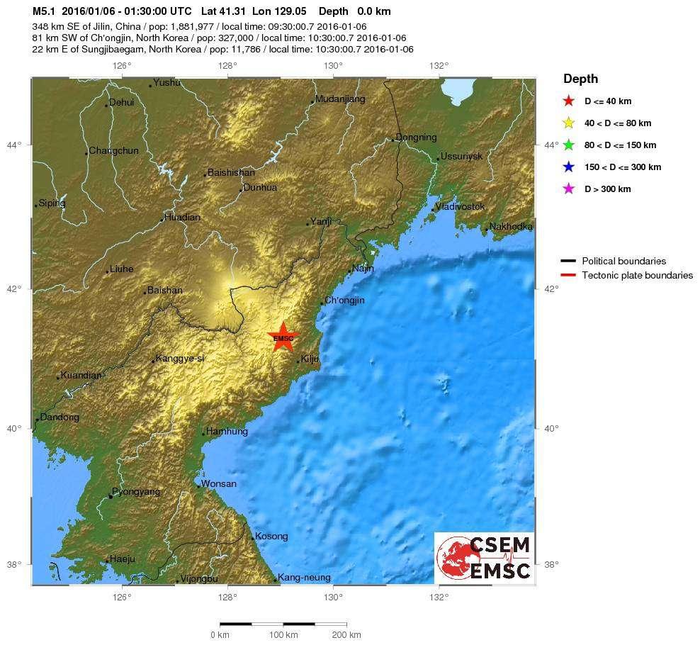 L'explosion souterraine en Corée du Nord a été enregistrée, comme tout séisme, par les réseaux de sismographes mondiaux. Ici, le signalement réalisé par le Centre de sismologie euro-méditéranéen sur son site Web. © CSEM