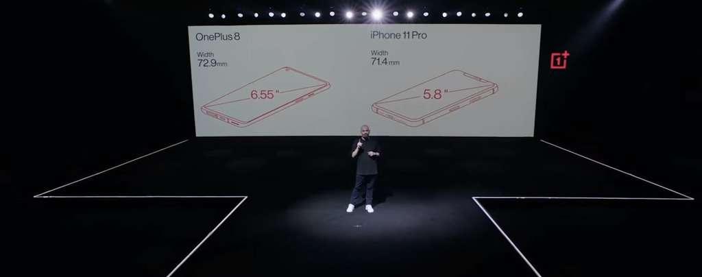 Même avec son modèle d'entrée de gamme, OnePlus cherche à pousser la comparaison avec l'iPhone 11 Pro. C'est notamment le cas sur ses dimensions et son poids. © OnePlus