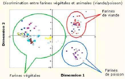 Le traitement des données spectrales obtenues par microscopie infrarouge (NIRM) permet de discriminer les particules analysées en fonction de leur origine. Diagramme : Pierre Dardenne, CRA, BE
