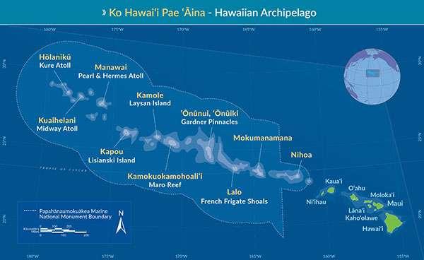 Les nouvelles limites de Papahānaumokuākea Marine National Monument. © PNMN