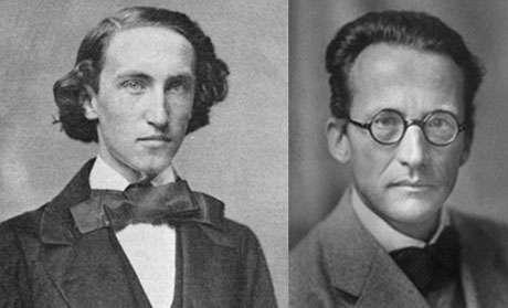 Gauche : J.W.Gibbs (1839-1903) introduit le concept d'ensemble en mécanique statistique. Droite :E.Schroedinger (1887-1961), l'un des pères de la mécanique quantique, prix Nobel 1933, fait dans notre histoire une toute fugace apparition à propos de fours et casseroles
