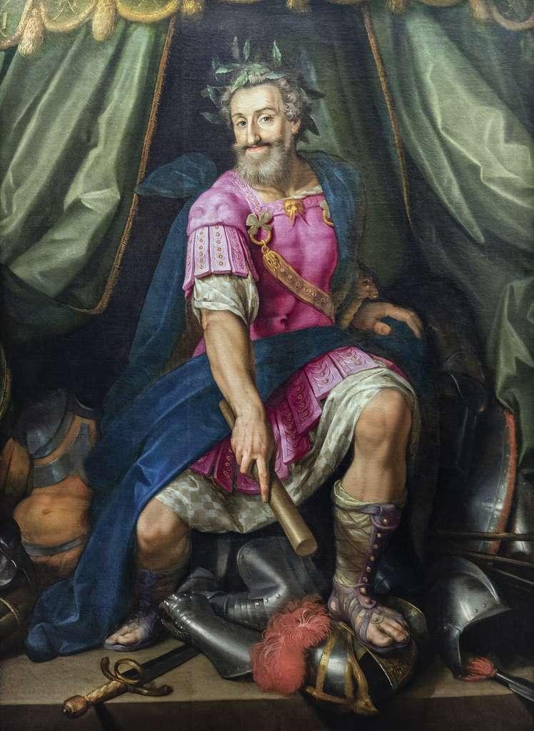 Portrait d'Henri IV en Mars vainqueur de la Ligue, par Ambroise Dubois vers 1605. Musée national du Château de Pau. © Wikimedia Commons, domaine public