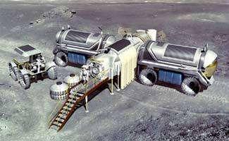 Un projet de base lunaire de la NASA. Crédits NASA