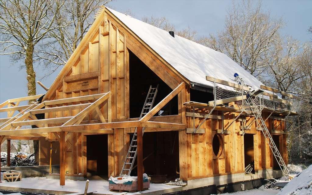 Maison bioclimatique en construction