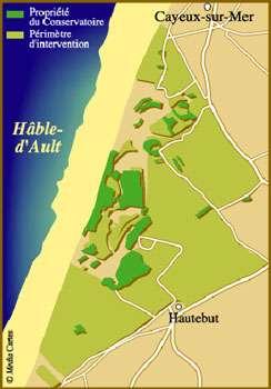 Carte du Hable d'Ault, propriétés du Conservatoire du littoral