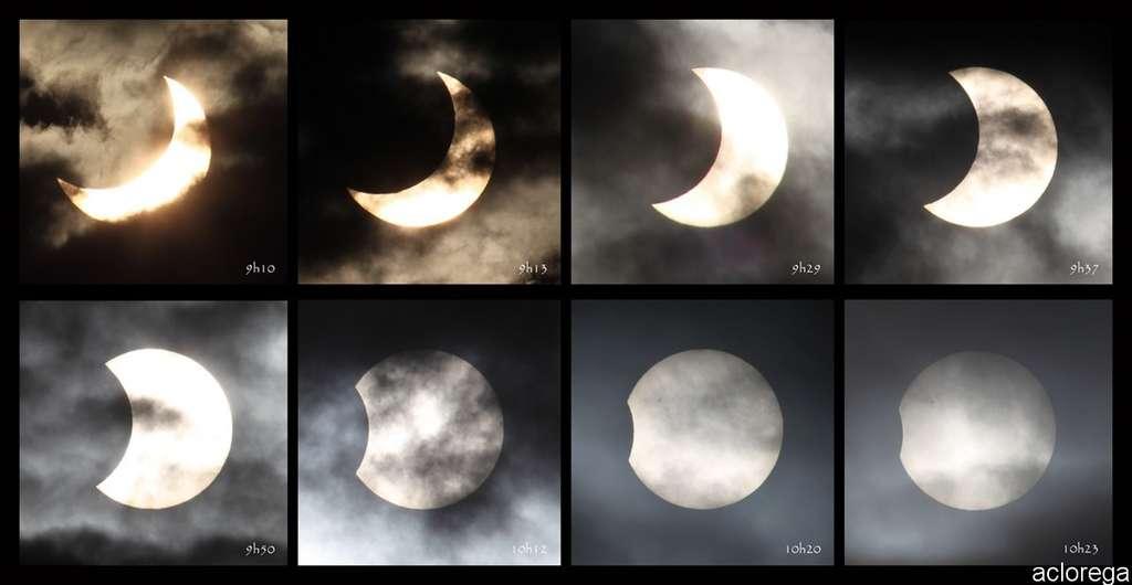 L'éclipse de Soleil photographiée de 9 h 10 à 10 h 23, assemblée ici. © aclorega