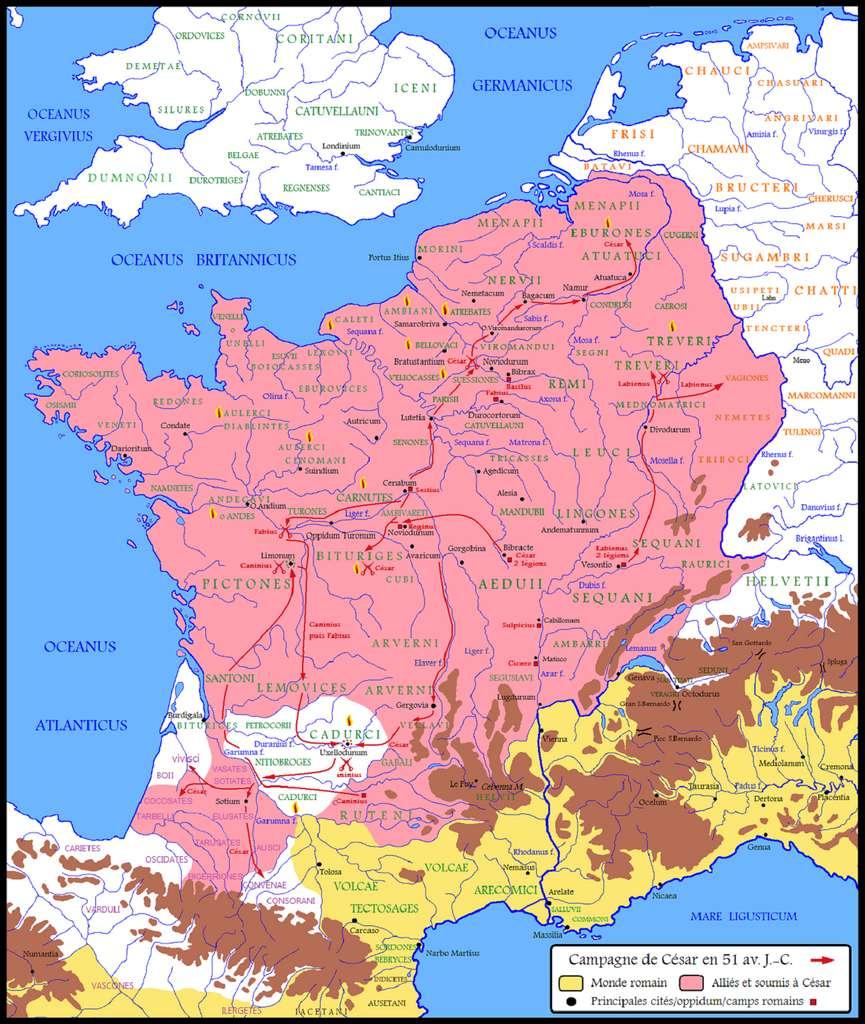 Carte de la Gaule soumise à Jules César en 51 avant J.C. (en rose). Auteur : Cristiano 64, 2007-2008. © Wikimedia Commons, domaine public.