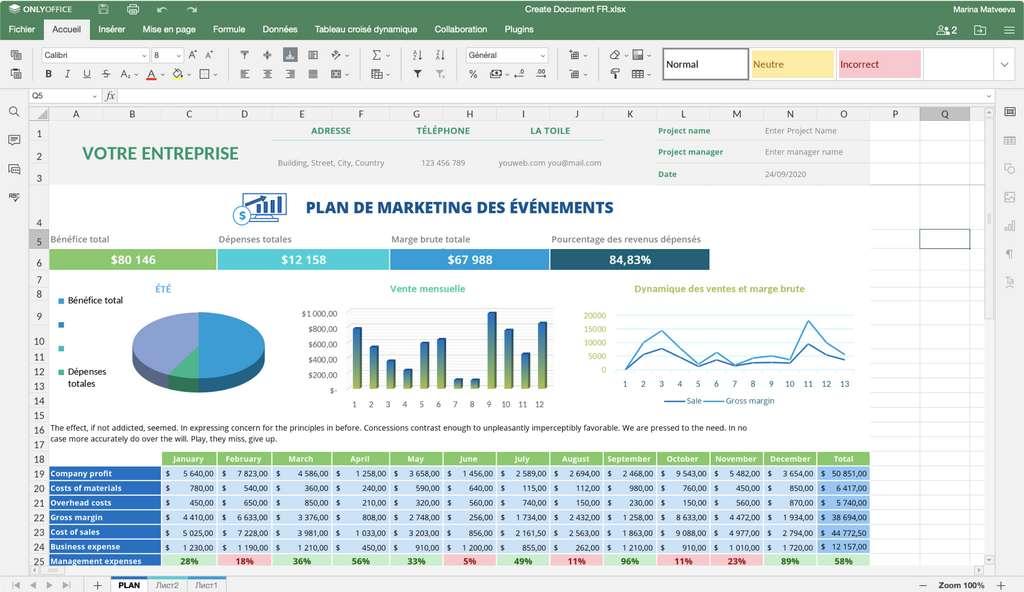 La suite bureautique comprend un traitement de texte, un tableur et un logiciel de présentation © ONLYOFFICE